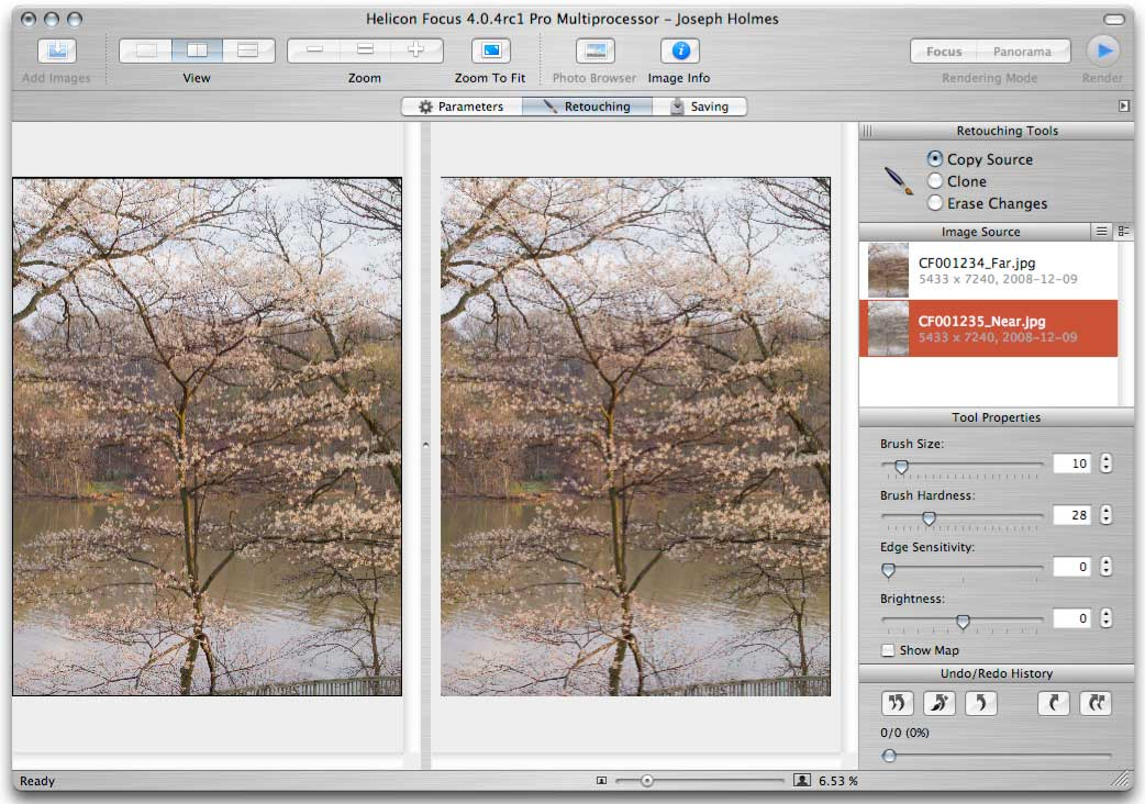 Helicon Focus 4.0.4 Mac Retouching mode